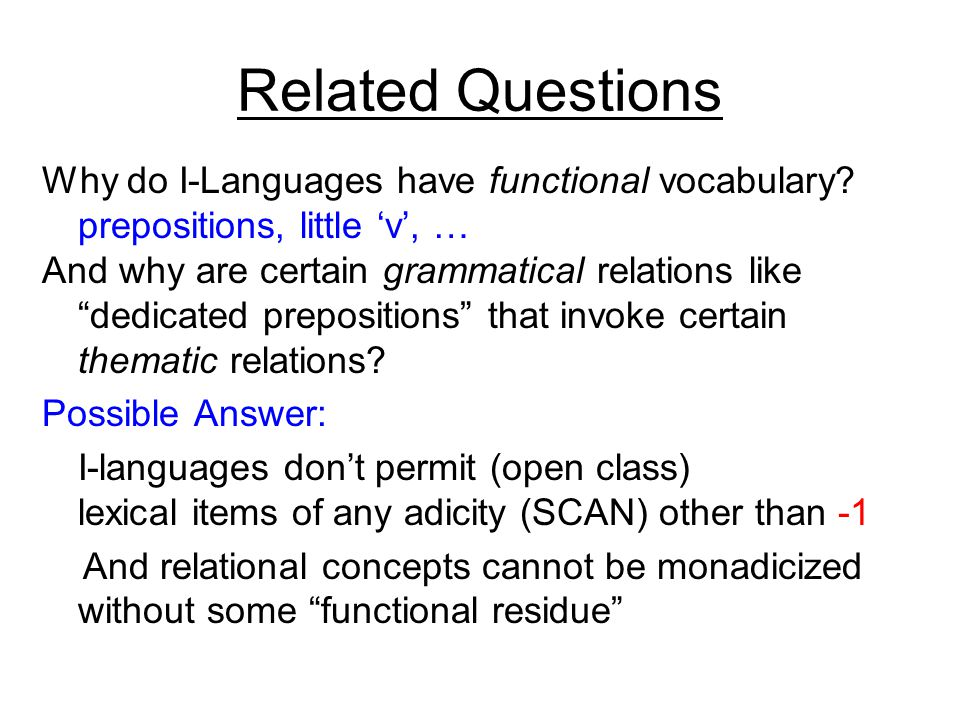 Related Questions Why do I-Languages have functional vocabulary.