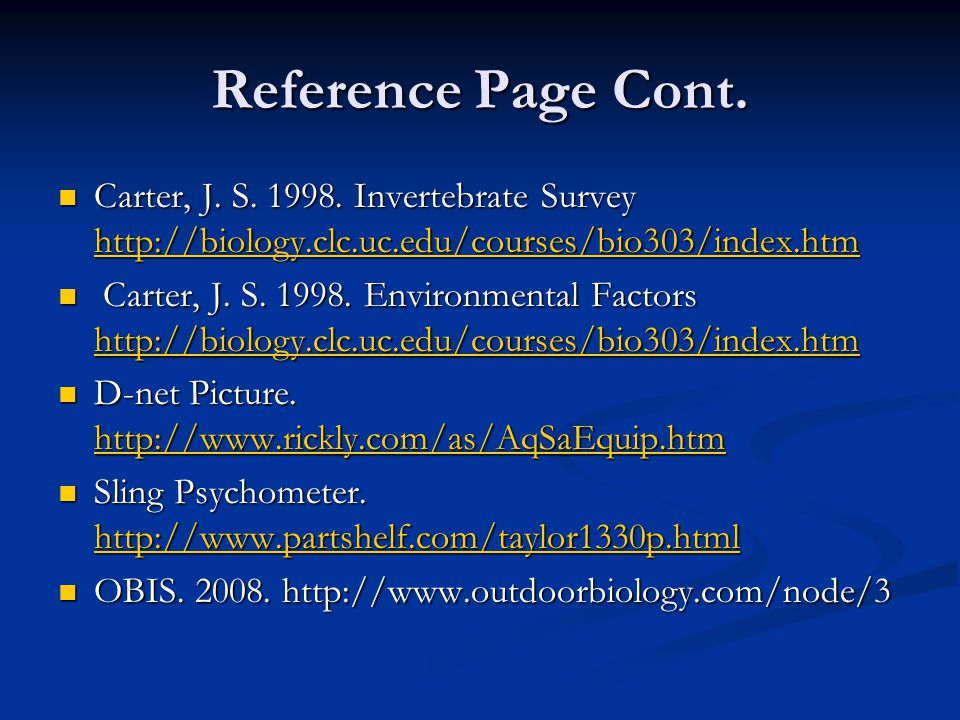 Reference Page Cont. Carter, J. S. 1998.
