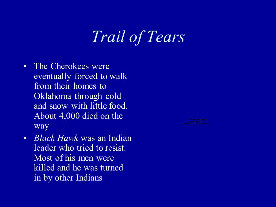 Trail of Tears The Cherokees were eventually forced to walk from their homes to Oklahoma through cold and snow with little food.