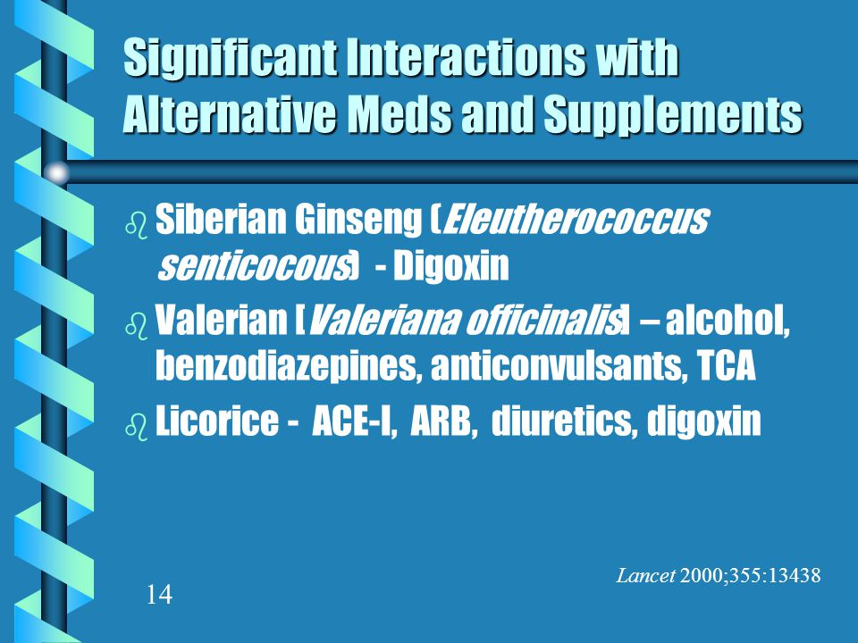 Significant Interactions with Alternative Meds and Supplements b Siberian Ginseng (Eleutherococcus senticocous) - Digoxin b Valerian [Valeriana officinalis] – alcohol, benzodiazepines, anticonvulsants, TCA b Licorice - ACE-I, ARB, diuretics, digoxin Lancet 2000;355:13438 14