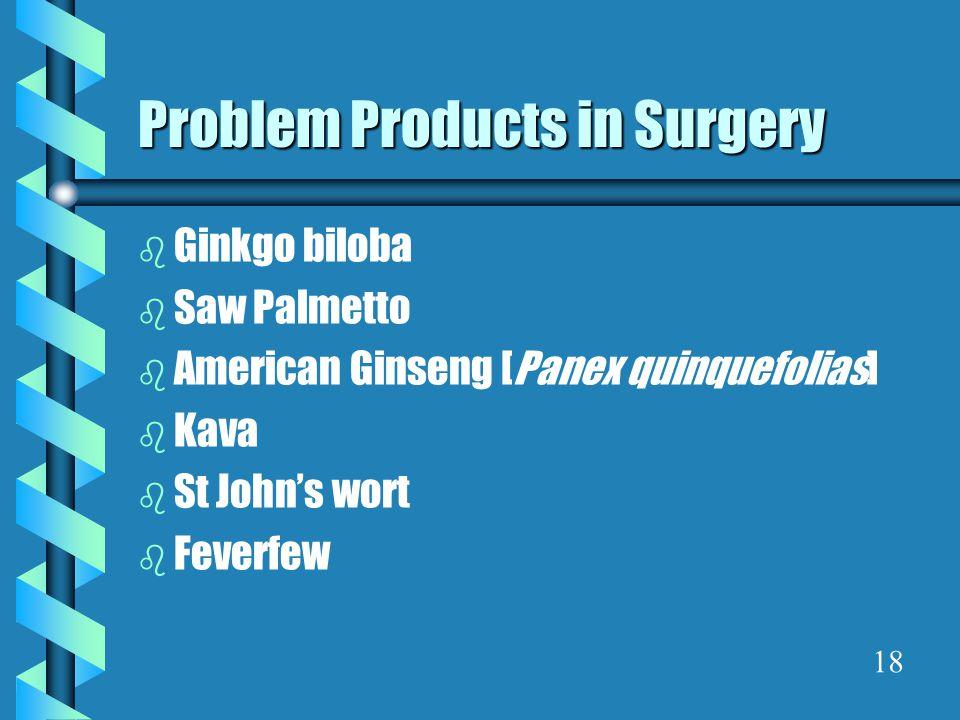 Problem Products in Surgery b Ginkgo biloba b Saw Palmetto b American Ginseng [Panex quinquefolias] b Kava b St John's wort b Feverfew 18