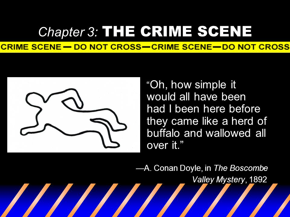 "Chapter 3: THE CRIME SCENE "" Oh, how simple it would all have been had I been here before they came like a herd of buffalo and wallowed all over it."""