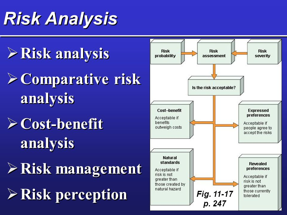 Risk Analysis  Risk analysis  Comparative risk analysis  Cost-benefit analysis  Risk management  Risk perception Fig.