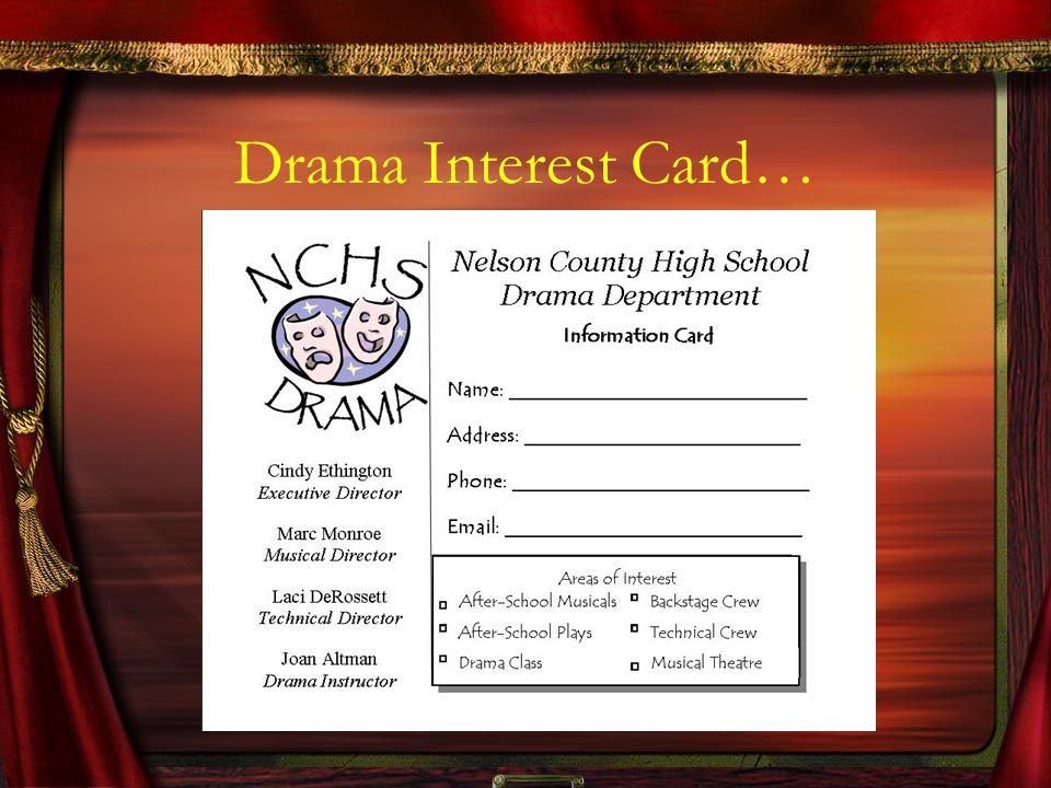 Drama Interest Card…