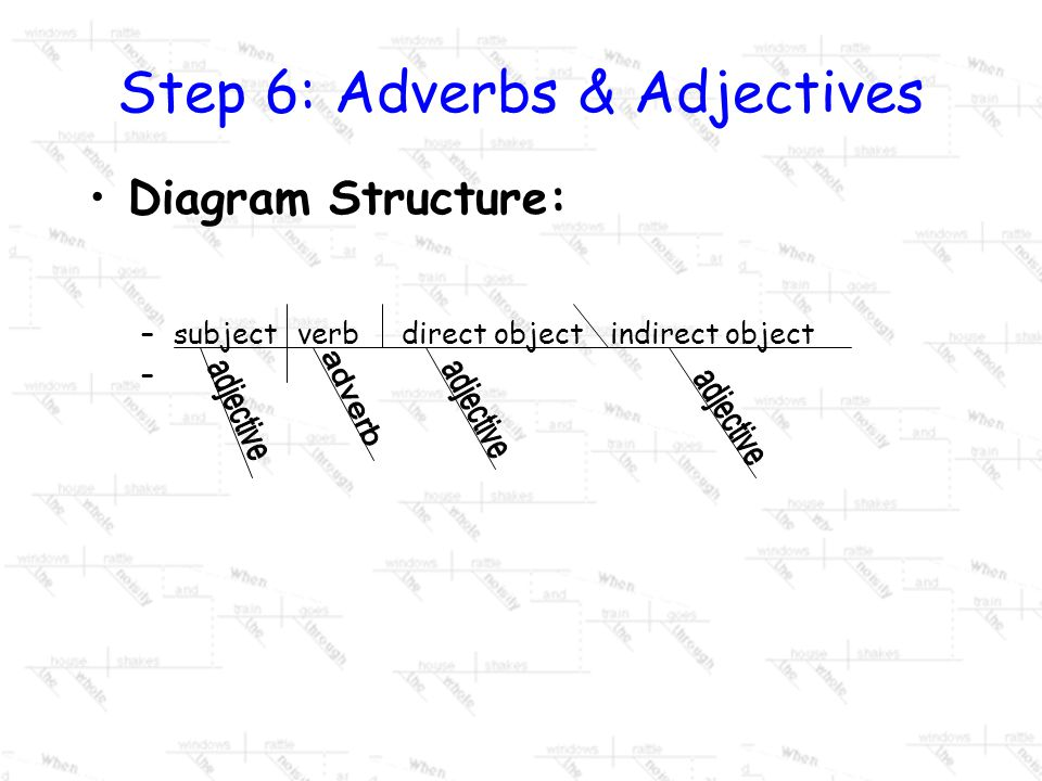 Step 6: Adjectives Adjectives modify or give description to nouns or pronouns. It will answer the questions: –what kind, how many, or which one. On a