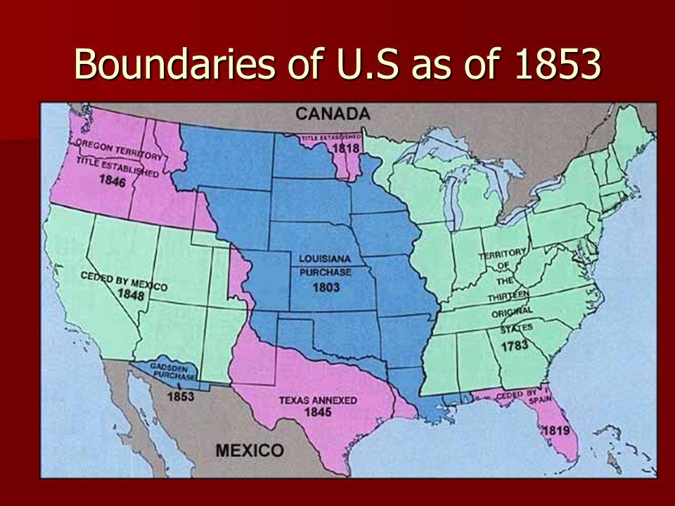 Boundaries of U.S as of 1853