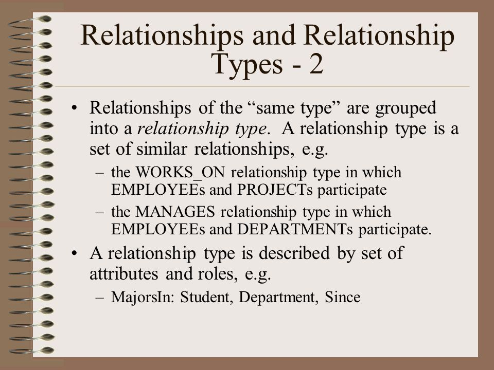 Relationships and Relationship Types - 2 Relationships of the same type are grouped into a relationship type.