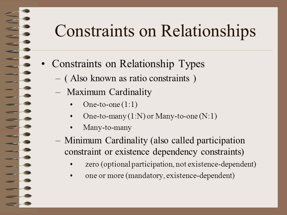 Constraints on Relationships Constraints on Relationship Types –( Also known as ratio constraints ) – Maximum Cardinality One-to-one (1:1) One-to-many (1:N) or Many-to-one (N:1) Many-to-many –Minimum Cardinality (also called participation constraint or existence dependency constraints) zero (optional participation, not existence-dependent) one or more (mandatory, existence-dependent)