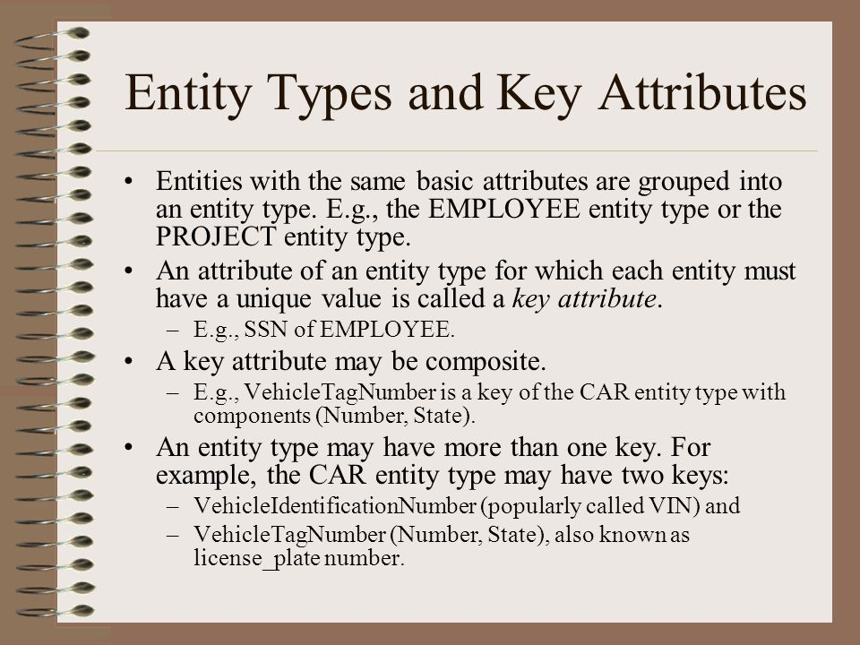 Entity Types and Key Attributes Entities with the same basic attributes are grouped into an entity type.