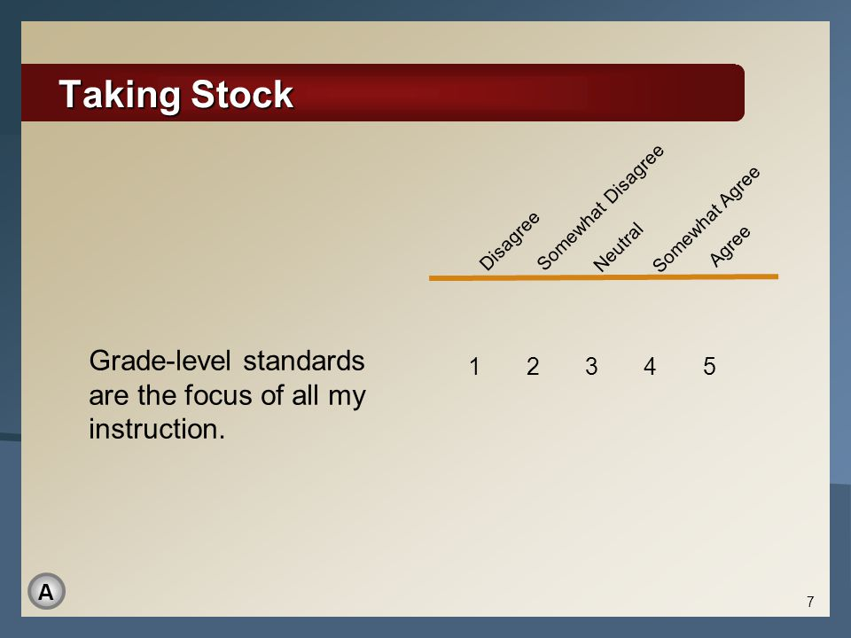 Taking Stock 7 Grade-level standards are the focus of all my instruction. 1 2 3 4 5 Disagree Somewhat Disagree Neutral Somewhat Agree Agree A