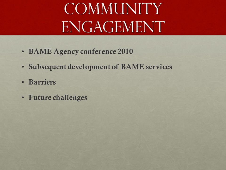 Community engagement BAME Agency conference 2010 BAME Agency conference 2010 Subsequent development of BAME services Subsequent development of BAME se