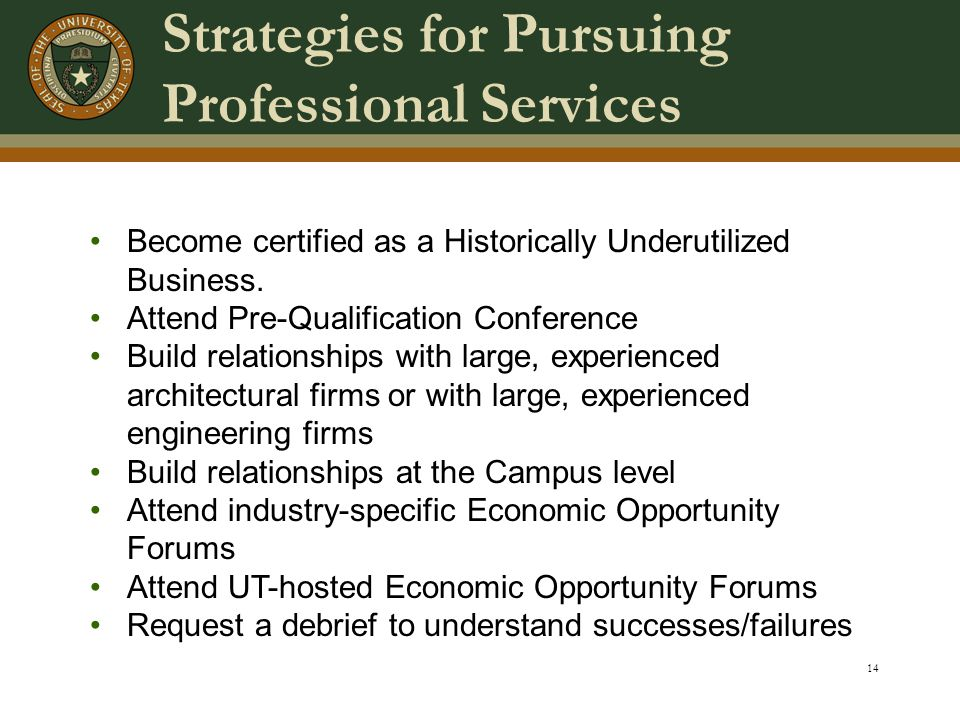14 Strategies for Pursuing Professional Services Become certified as a Historically Underutilized Business.
