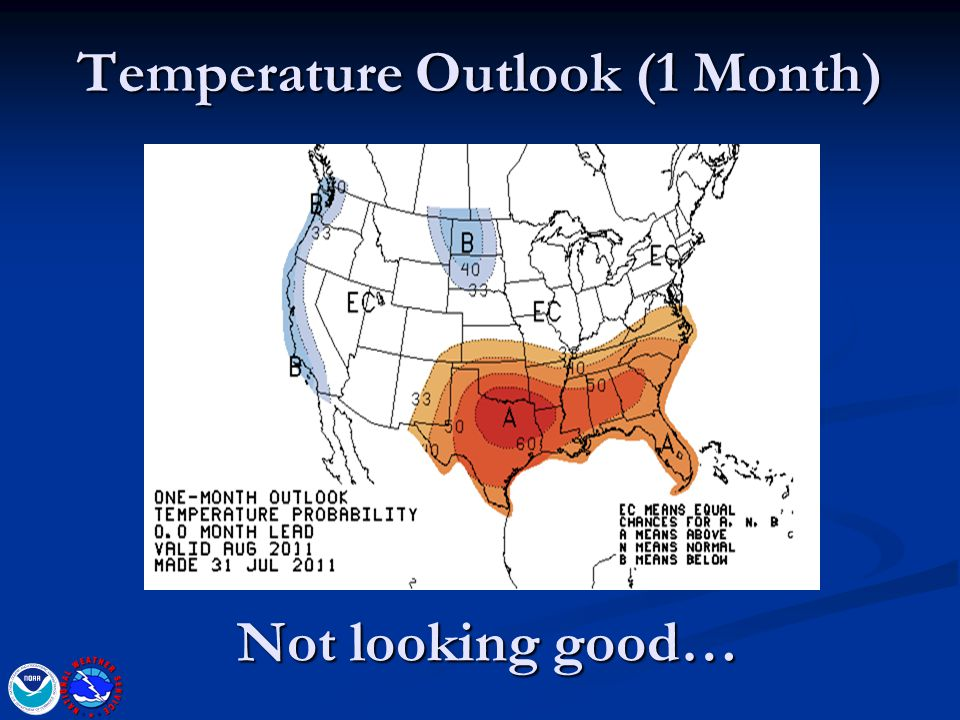 Temperature Outlook (1 Month) Not looking good…