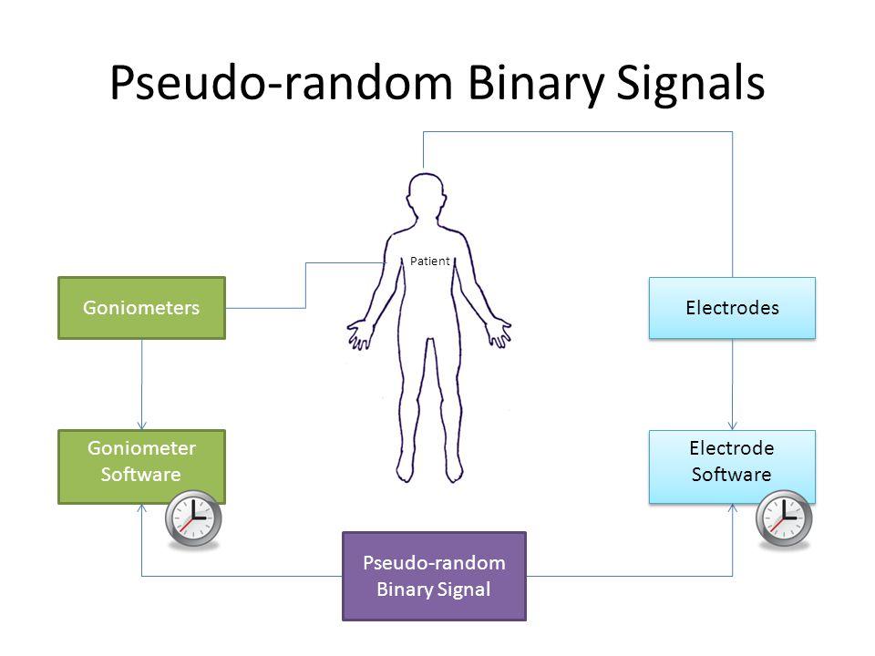 Pseudo-random Binary Signal Goniometers Patient Electrodes Goniometer Software Electrode Software Pseudo-random Binary Signals