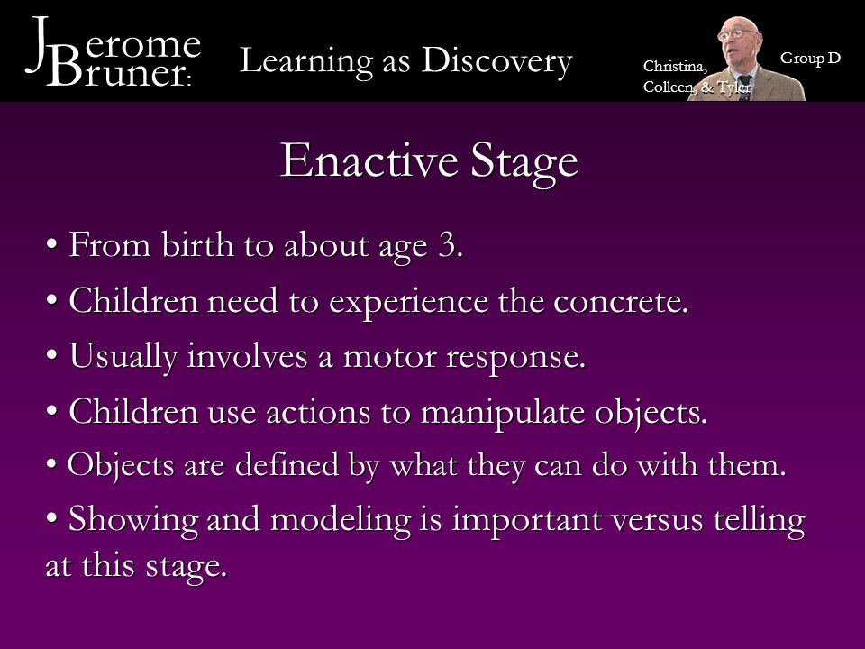 Learning as Discovery J erome B runer : Group D Christina, Colleen, & Tyler From about age 3 to about age 8 Children are able to think about things that are not physically present Images are primarily visual or based in another sense Ex.