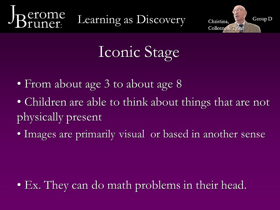 Symbolic Representation Stage This stage occurs at about age 7 Bruner believes that in this stage, children are able to transform action and image into a symbolic system to encode knowledge The symbols are primarily linguistic and mathematical Symbolic Representation is a major tool in reflective thinking This stage occurs at about age 7 Bruner believes that in this stage, children are able to transform action and image into a symbolic system to encode knowledge The symbols are primarily linguistic and mathematical Symbolic Representation is a major tool in reflective thinking Learning as Discovery J erome B runer : Group D Christina, Colleen, & Tyler