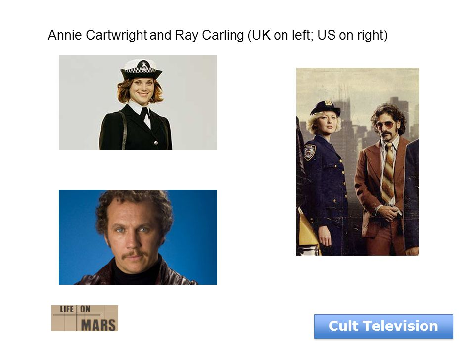 Cult Television Annie Cartwright and Ray Carling (UK on left; US on right)