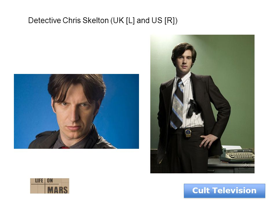 Cult Television Detective Chris Skelton (UK [L] and US [R])