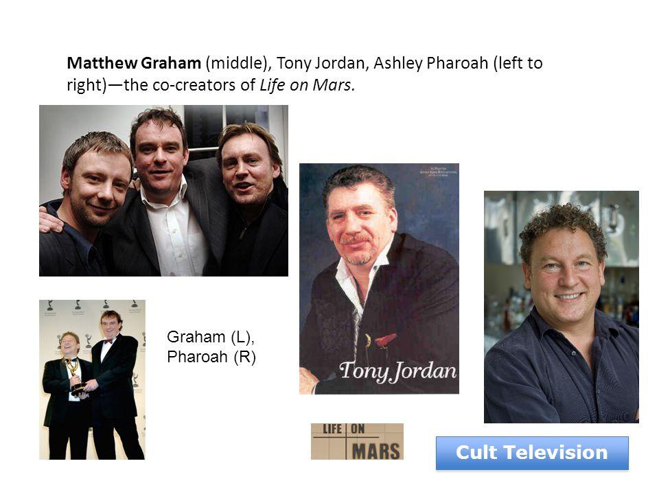 Matthew Graham (middle), Tony Jordan, Ashley Pharoah (left to right)—the co-creators of Life on Mars.