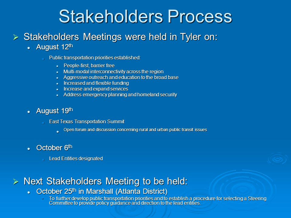 Stakeholders Process  Stakeholders Meetings were held in Tyler on: August 12 th August 12 th Public transportation priorities established: Public tra