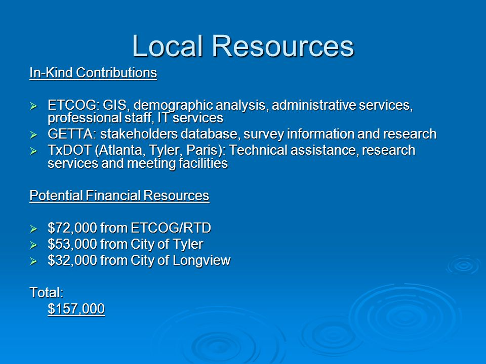 Local Resources In-Kind Contributions  ETCOG: GIS, demographic analysis, administrative services, professional staff, IT services  GETTA: stakeholde