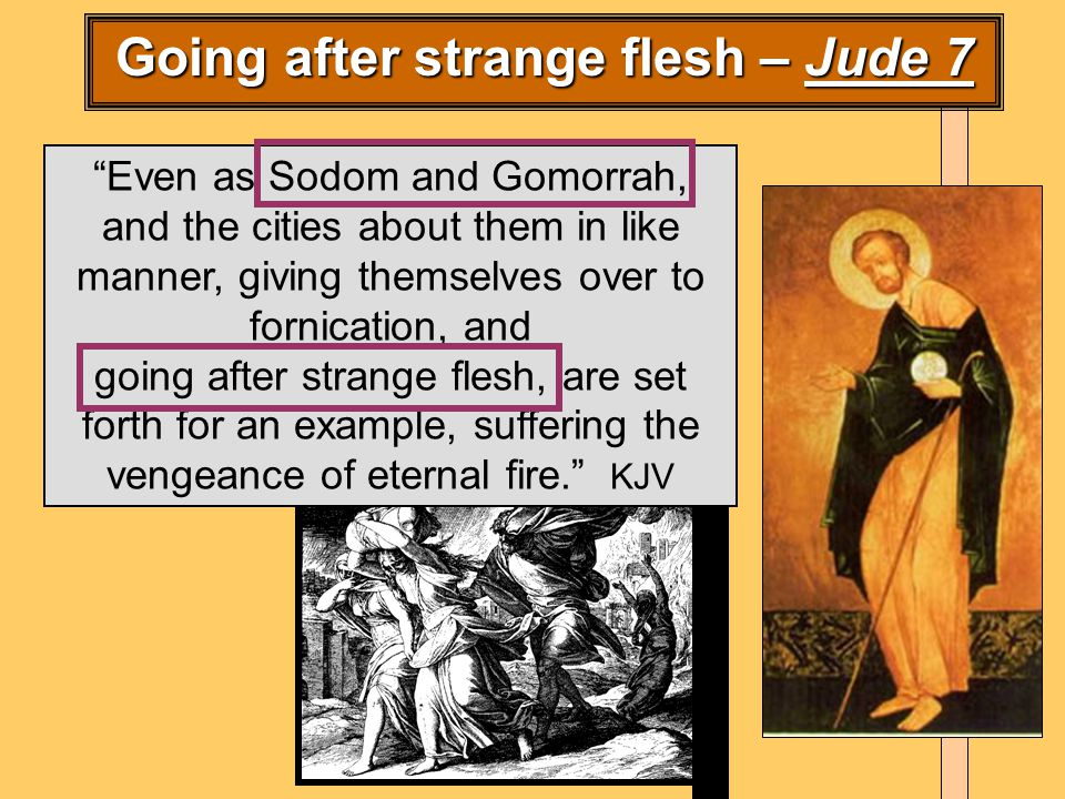 Even as Sodom and Gomorrah, and the cities about them in like manner, giving themselves over to fornication, and going after strange flesh, are set forth for an example, suffering the vengeance of eternal fire. KJV