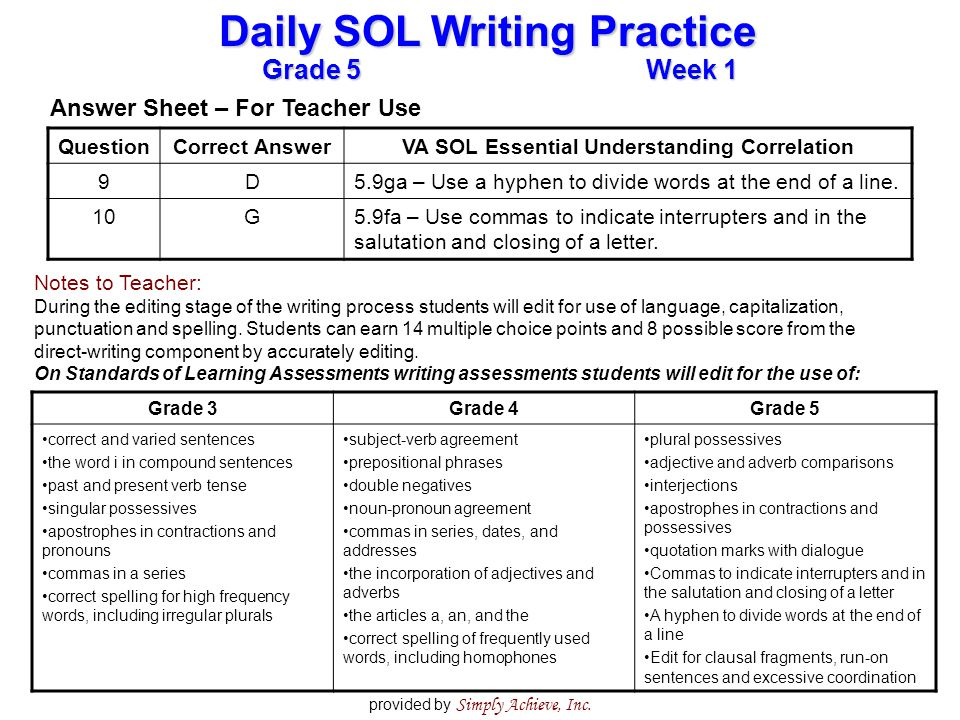 Grade 5Week 1 Daily SOL Writing Practice provided by Simply Achieve, Inc.