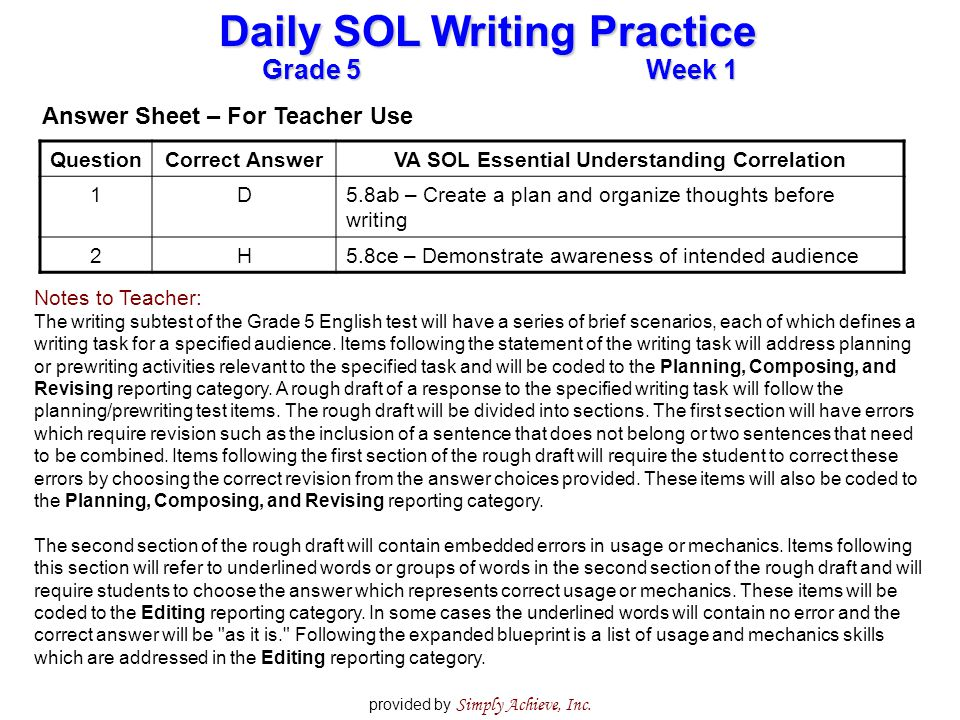 Grade 5Week 1 Daily SOL Writing Practice provided by Simply Achieve, Inc. QuestionCorrect AnswerVA SOL Essential Understanding Correlation 1D5.8ab – C