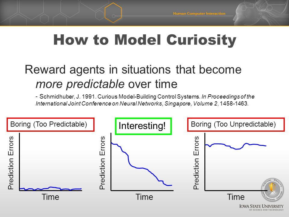 How to Model Curiosity Reward agents in situations that become more predictable over time - S chmidhuber, J.