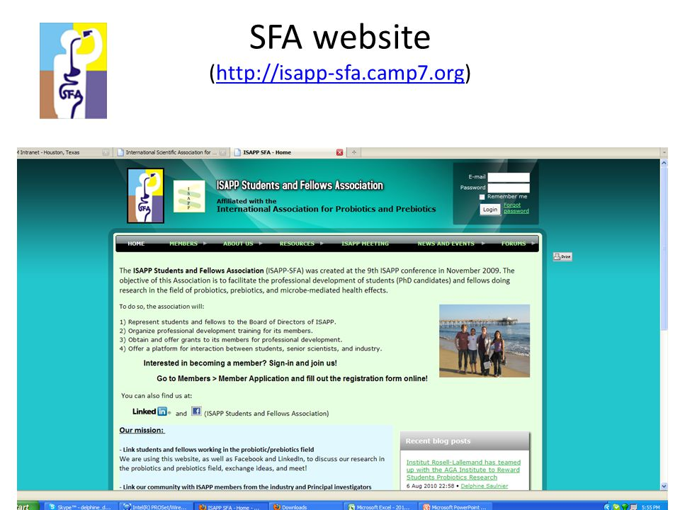 SFA website (http://isapp-sfa.camp7.org)http://isapp-sfa.camp7.org