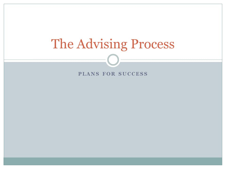 PLANS FOR SUCCESS The Advising Process
