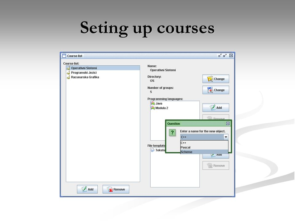 Seting up courses