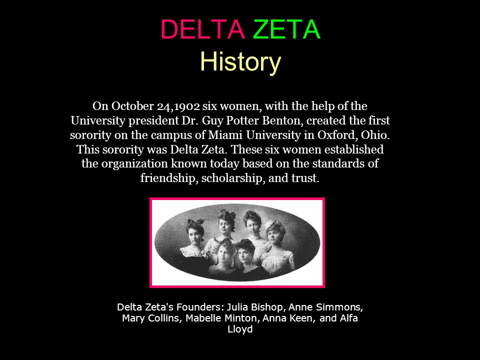 DELTA ZETA History On October 24,1902 six women, with the help of the University president Dr.