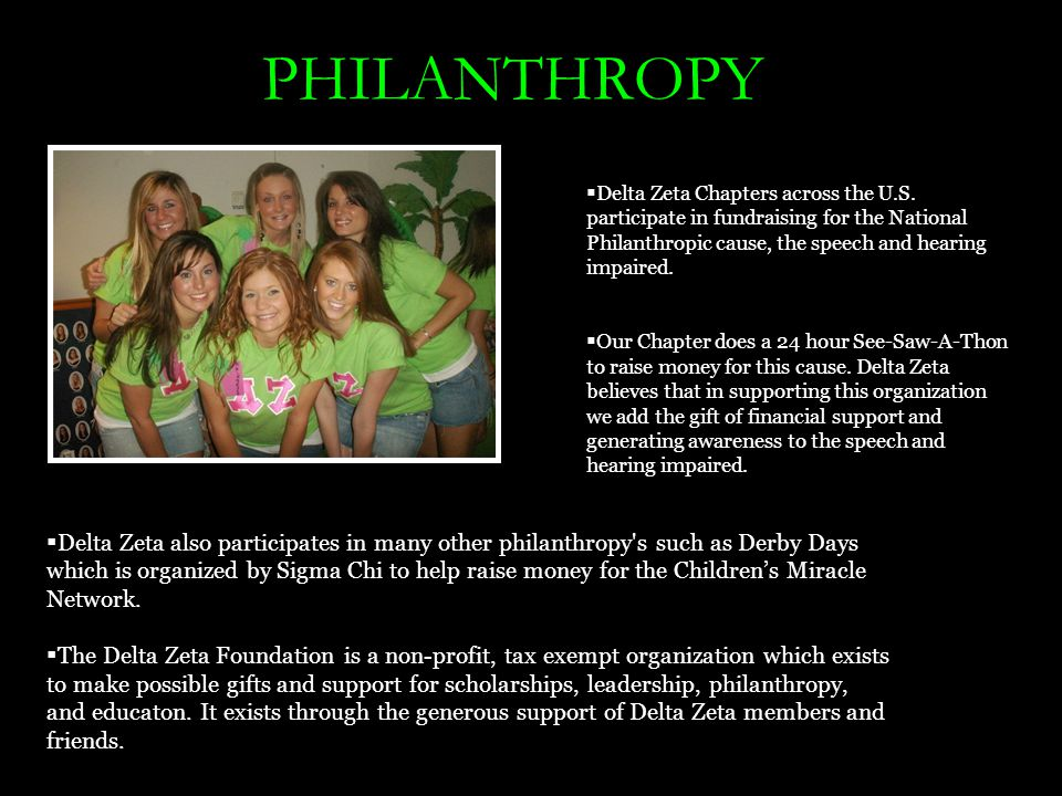 PHILANTHROPY  Delta Zeta Chapters across the U.S.