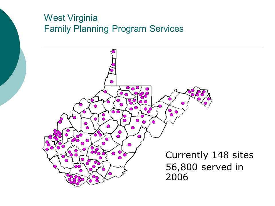 West Virginia Family Planning Program Services Currently 148 sites 56,800 served in 2006