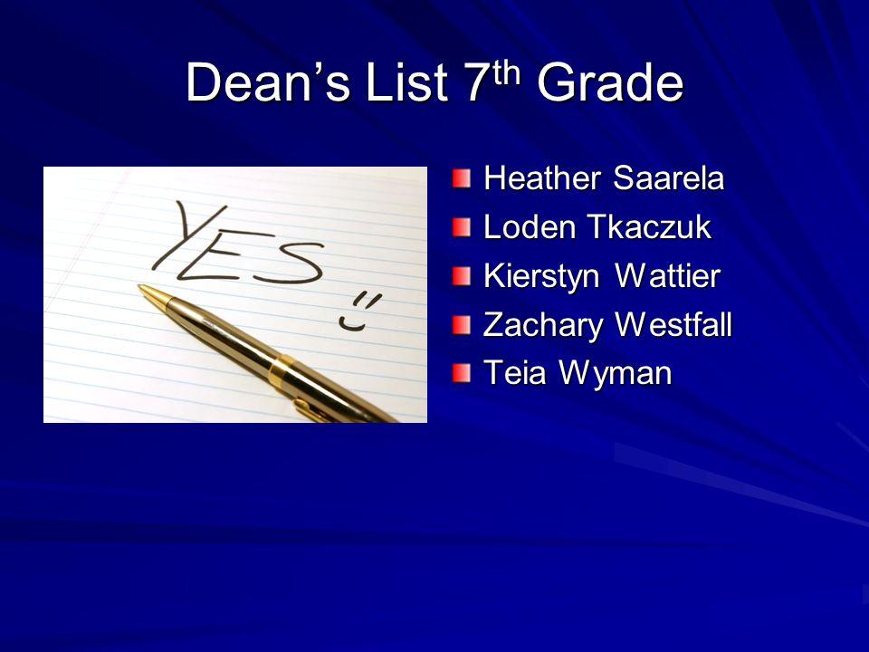 Dean's List 7 th Grade Heather Saarela Loden Tkaczuk Kierstyn Wattier Zachary Westfall Teia Wyman