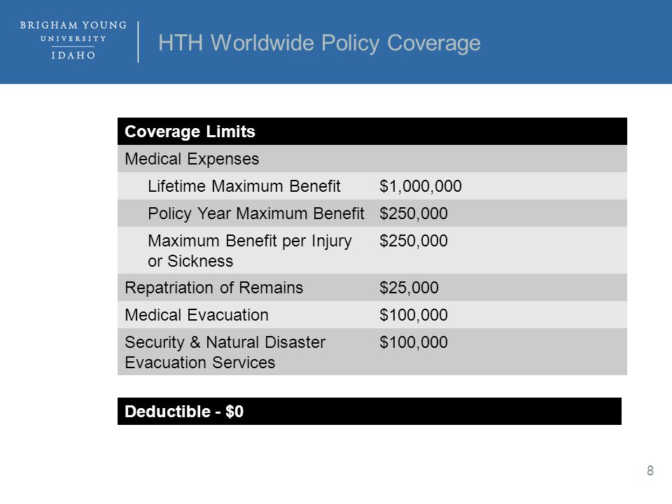 HTH Worldwide Policy Coverage Coverage Limits Medical Expenses Lifetime Maximum Benefit$1,000,000 Policy Year Maximum Benefit$250,000 Maximum Benefit per Injury or Sickness $250,000 Repatriation of Remains$25,000 Medical Evacuation$100,000 Security & Natural Disaster Evacuation Services $100,000 8 Deductible - $0