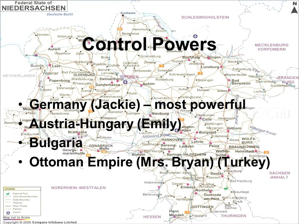 Control Powers Germany (Jackie) – most powerful Austria-Hungary (Emily) Bulgaria Ottoman Empire (Mrs. Bryan) (Turkey)