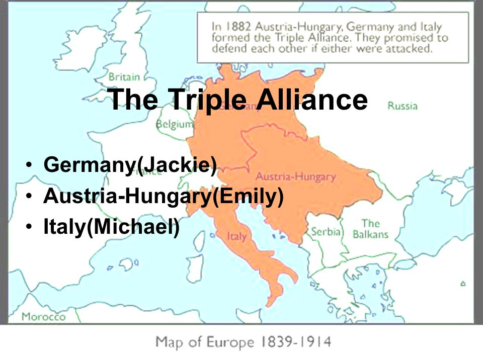 The Triple Alliance Germany(Jackie) Austria-Hungary(Emily) Italy(Michael)
