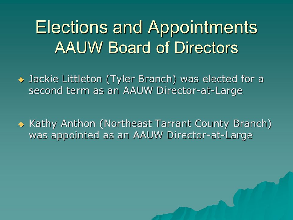 Elections and Appointments AAUW Board of Directors  Jackie Littleton (Tyler Branch) was elected for a second term as an AAUW Director-at-Large  Kathy Anthon (Northeast Tarrant County Branch) was appointed as an AAUW Director-at-Large