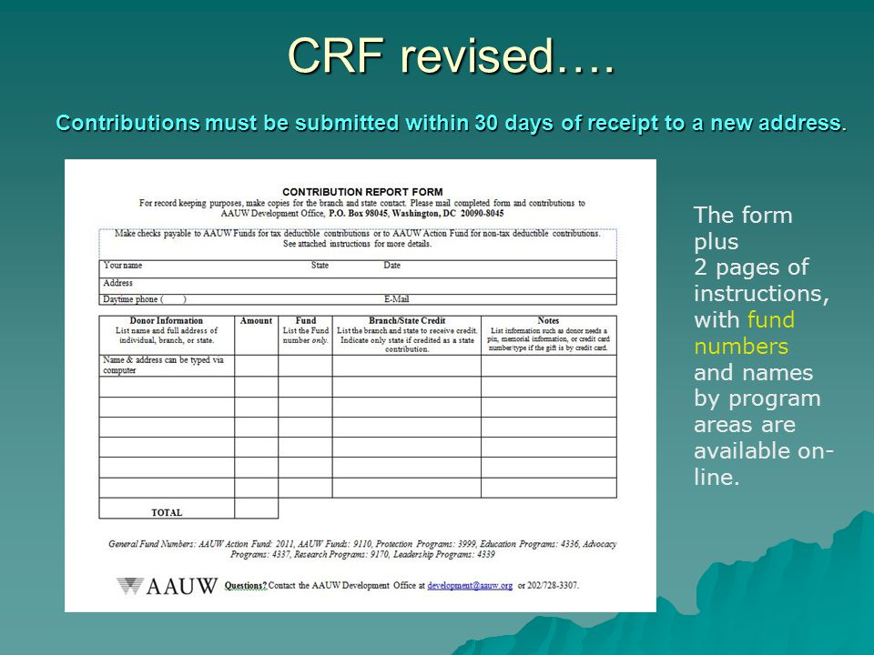 CRF revised…. Contributions must be submitted within 30 days of receipt to a new address.