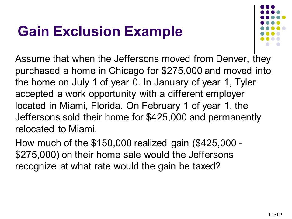 14-19 Gain Exclusion Example Assume that when the Jeffersons moved from Denver, they purchased a home in Chicago for $275,000 and moved into the home on July 1 of year 0.