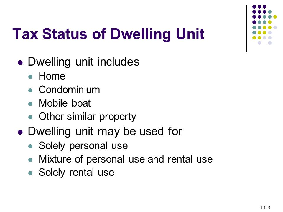 14-3 Tax Status of Dwelling Unit Dwelling unit includes Home Condominium Mobile boat Other similar property Dwelling unit may be used for Solely personal use Mixture of personal use and rental use Solely rental use