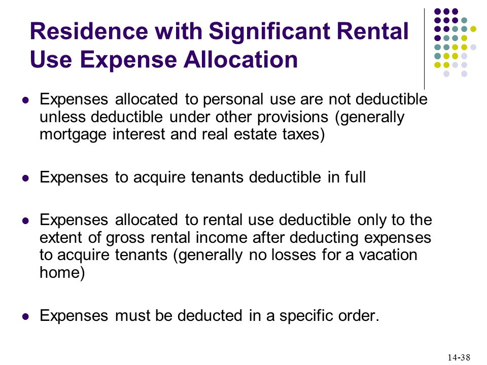 14-38 Residence with Significant Rental Use Expense Allocation Expenses allocated to personal use are not deductible unless deductible under other provisions (generally mortgage interest and real estate taxes) Expenses to acquire tenants deductible in full Expenses allocated to rental use deductible only to the extent of gross rental income after deducting expenses to acquire tenants (generally no losses for a vacation home) Expenses must be deducted in a specific order.