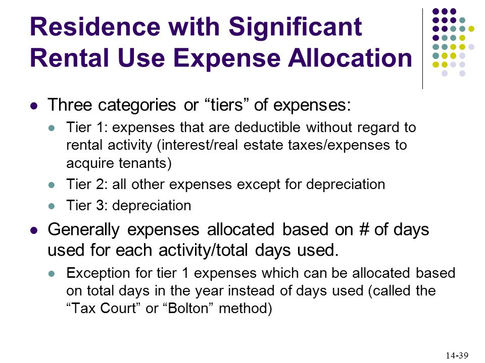 14-39 Residence with Significant Rental Use Expense Allocation Three categories or tiers of expenses: Tier 1: expenses that are deductible without regard to rental activity (interest/real estate taxes/expenses to acquire tenants) Tier 2: all other expenses except for depreciation Tier 3: depreciation Generally expenses allocated based on # of days used for each activity/total days used.