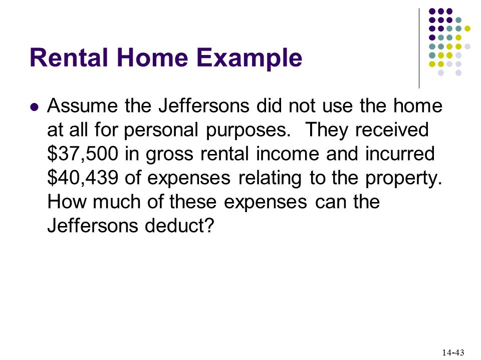 14-43 Rental Home Example Assume the Jeffersons did not use the home at all for personal purposes.