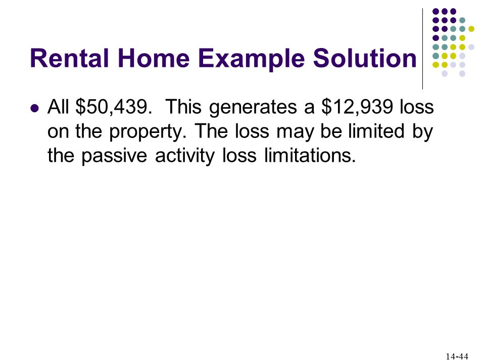 14-44 Rental Home Example Solution All $50,439.This generates a $12,939 loss on the property.