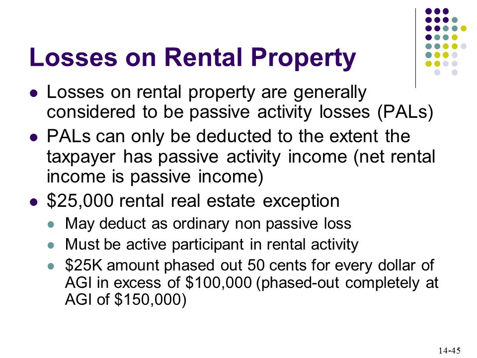 14-45 Losses on Rental Property Losses on rental property are generally considered to be passive activity losses (PALs) PALs can only be deducted to the extent the taxpayer has passive activity income (net rental income is passive income) $25,000 rental real estate exception May deduct as ordinary non passive loss Must be active participant in rental activity $25K amount phased out 50 cents for every dollar of AGI in excess of $100,000 (phased-out completely at AGI of $150,000)