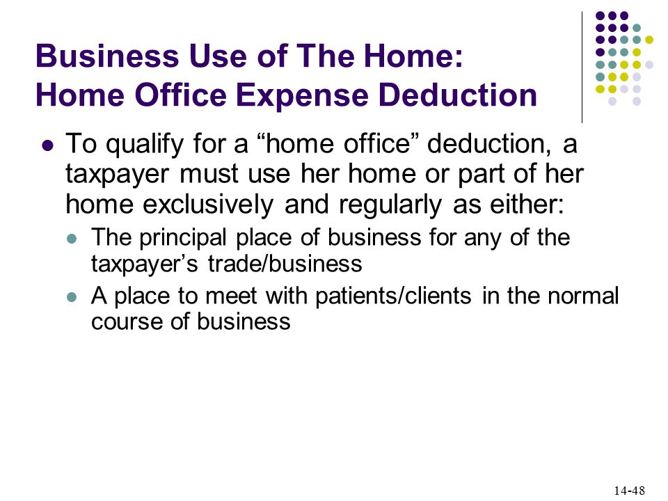 14-48 Business Use of The Home: Home Office Expense Deduction To qualify for a home office deduction, a taxpayer must use her home or part of her home exclusively and regularly as either: The principal place of business for any of the taxpayer's trade/business A place to meet with patients/clients in the normal course of business