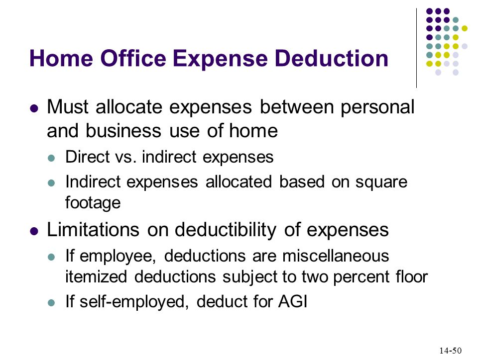 14-50 Home Office Expense Deduction Must allocate expenses between personal and business use of home Direct vs.